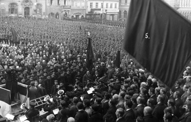 Celebration of the Republican Defense League Jahr in 1928 on behalf oft the founding of the Autrian Republic.